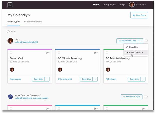 Calendly - meeting bookings screenshot
